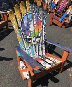 Aspen Mural Skull Hand Painted Adirondack Ski Chair Set