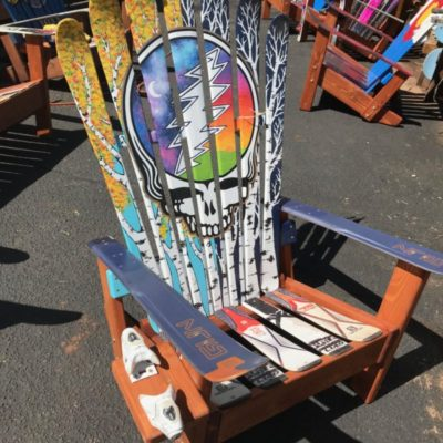 Aspen Mural Skull Hand Painted Adirondack Ski Chair Set