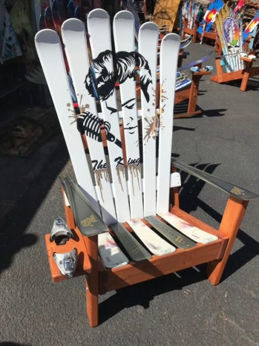 Elvis Presley The King Hand Painted Adirondack Ski Chair Set
