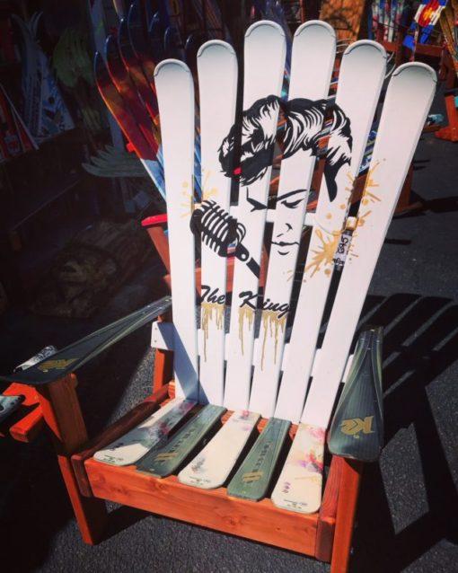 Elvis Presley The King Hand Painted Adirondack Ski Chair Set