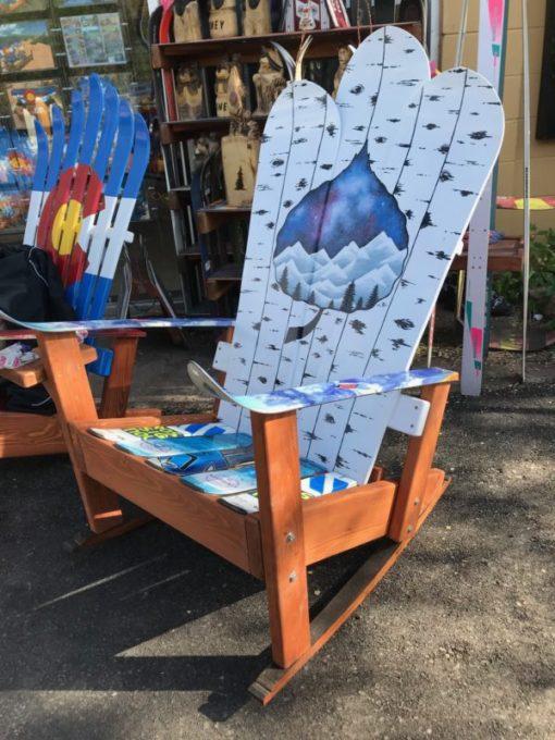 Aspen night sky rocker mural adirondack ski rocking chair