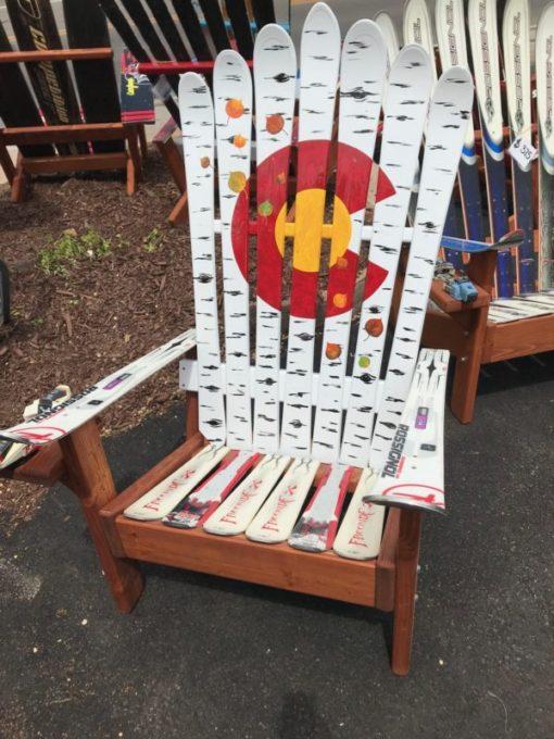 Aspen falling leaves Colorado flag adirondack ski chair