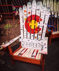 Aspen falling leaves Colorado flag adirondack ski chair