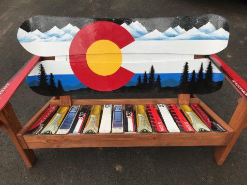 Colorado Mountain Mural Adirondack Snowboard Bench