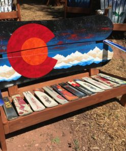 Colorado Orange Moon Mural Adirondack Snowboard Bench