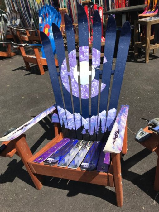 Marbled Purple Colorado Flag Mama Fox & Cub & Moon Adirondack Ski Chair