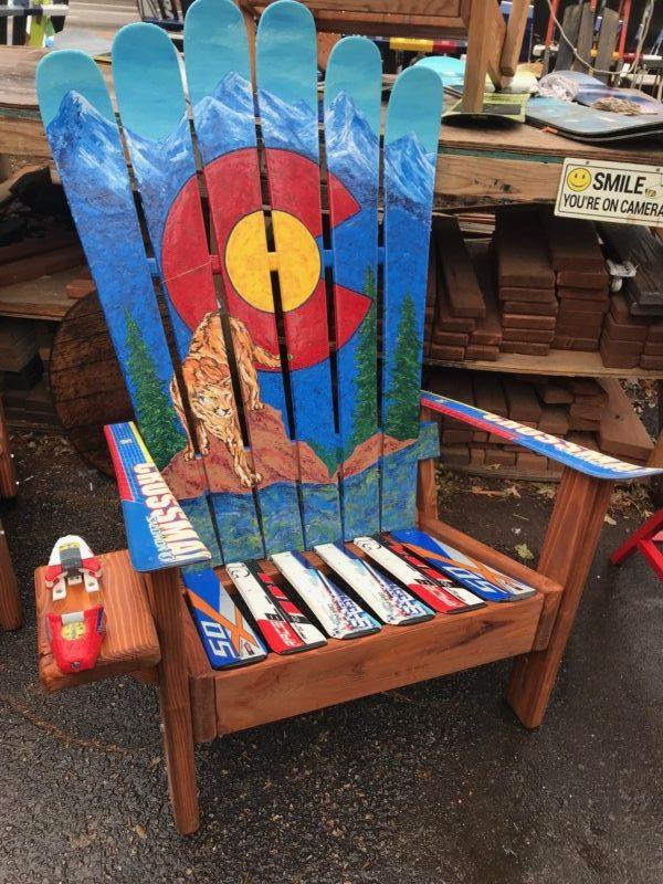 Colorado Flag Mountain Lion Mural Adirondack Ski Chair
