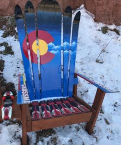 Custom Adirondack Hybrid Ski & Snowboard Chairs, Colorado flag plus mountains and night sky