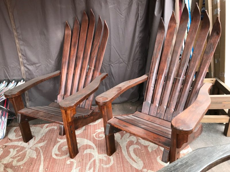 antique ski chair. Home / Shop / Indoor Decor u0026 Furniture & Set of 2 -Antique/Vintage Wooden Ski Adirondack Chairs