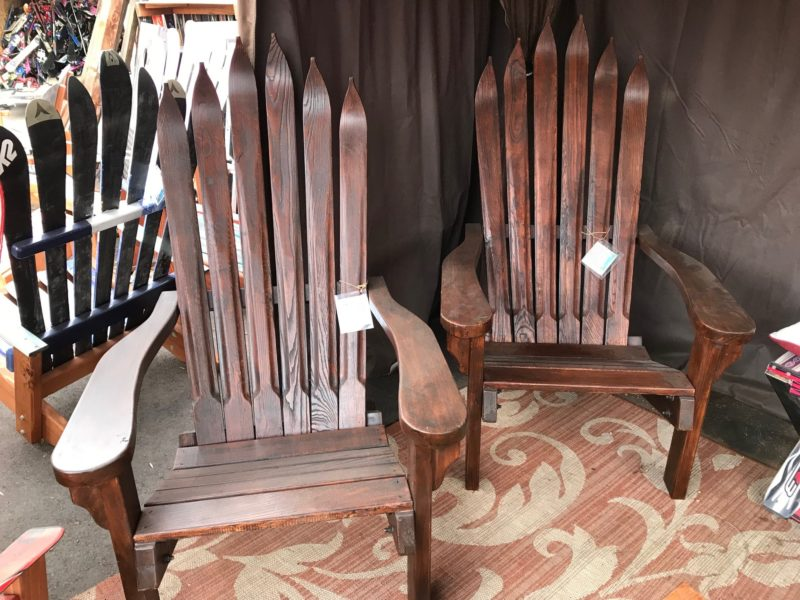 Set Of 2 Antique Vintage Wooden Ski Adirondack Chairs