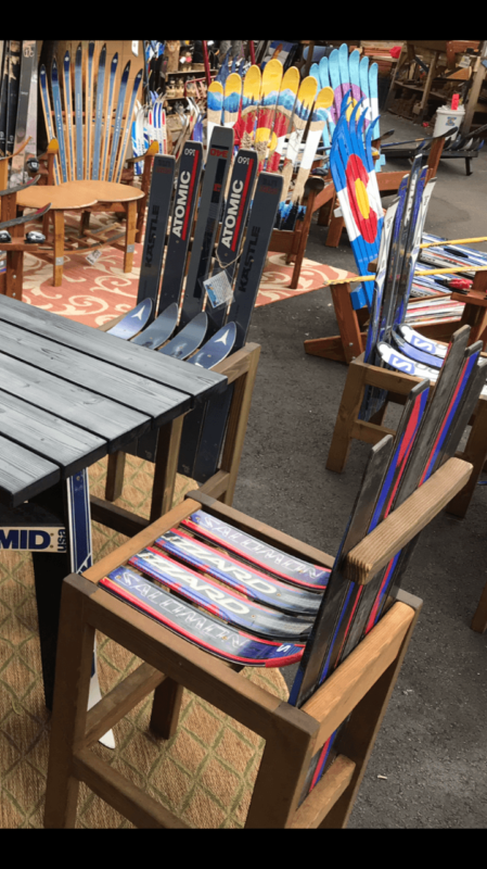 Set Of Two Ski Bar Stools