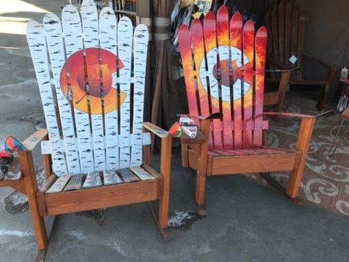 Aspen Leaf Colorado Flag Mural Sunset Adirondack Ski Chair