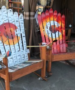 Set of Two Colorado Flag Aspen Leaf Adirondack Ski Rocking Chairs