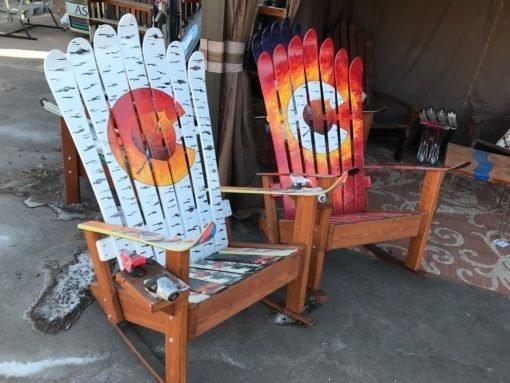 Set of Two Colorado Flag Aspen Leaf Adirondack Ski Rocking Chairs