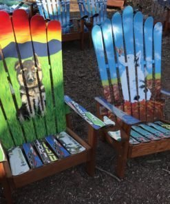 Hand Painted Dog Ski Chairs