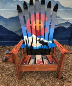 Colorado Orange Moon Mountain Mural Moose Adirondack Ski Chair