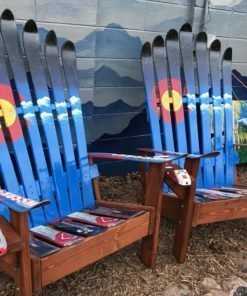 Colorado Mountain Stencil with Starry Night Sky Adirondack Ski Chair