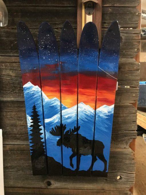 Moose Mountain Mural Ski Wall Art
