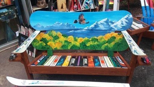 Soaring Hawk Mountain Mural Adirondack Snowboard Bench