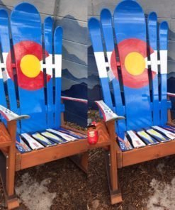 Set of 2 - Hybrid Ski & Snowboard Colorado Flag Adirondack Rocking Chairs