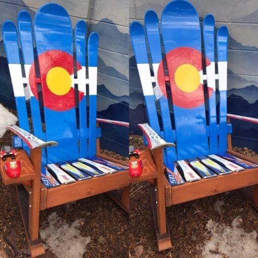 Set of 2 - Hybrid Ski & Snowboard Colorado Flag Adirondack Rocking Chairs