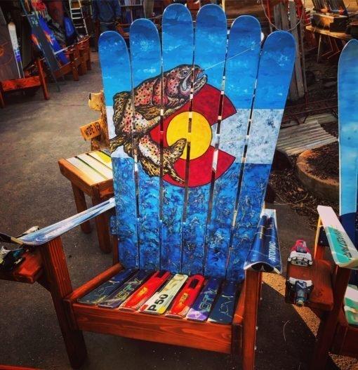 Colorado Flag Rainbow Trout Adirondack Ski Chair