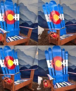 Set of 4 - Hybrid Ski & Snowboard Colorado Flag Adirondack Rocking Chairs