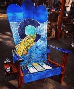 Colorado Flag Brown Trout Adirondack Snowboard Chair