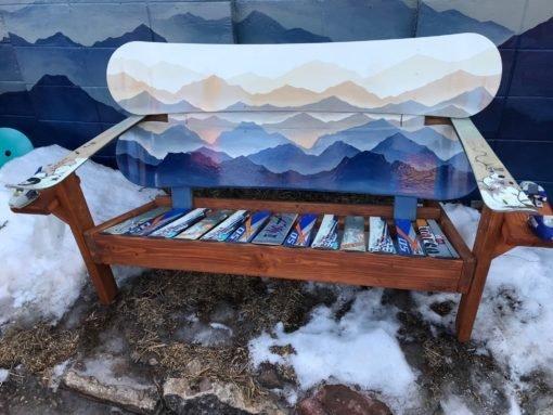 Hand painted Custom Mountain Mural Snowboard Bench