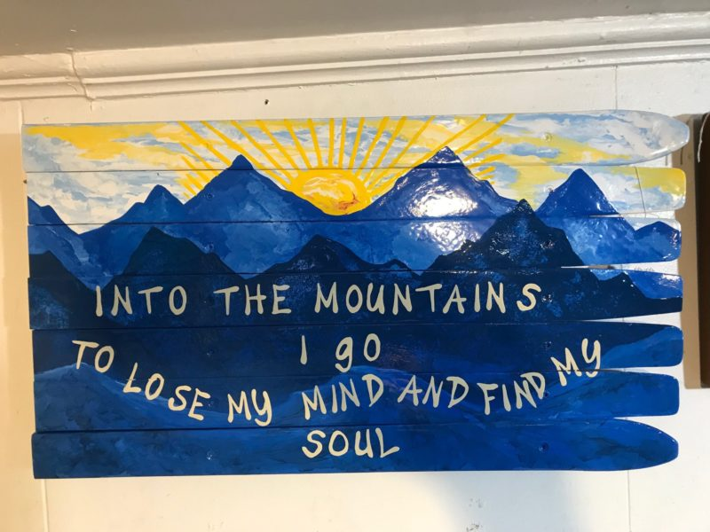 Into The Mountains I Go Mural Wall Flag Art Hand Painted On Recycled Skis