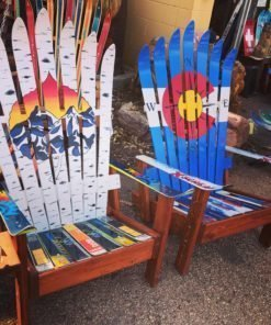 Aspen Sunset Mural & Colorado Compass Flag Adriondack Ski Chair Set