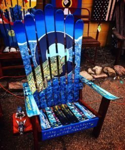 Colorado Flag Brown Trout Adirondack Ski Chair