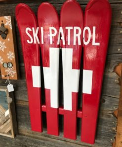 Ski Patrol/ Swiss Flag Hand Painted Ski Wall Art