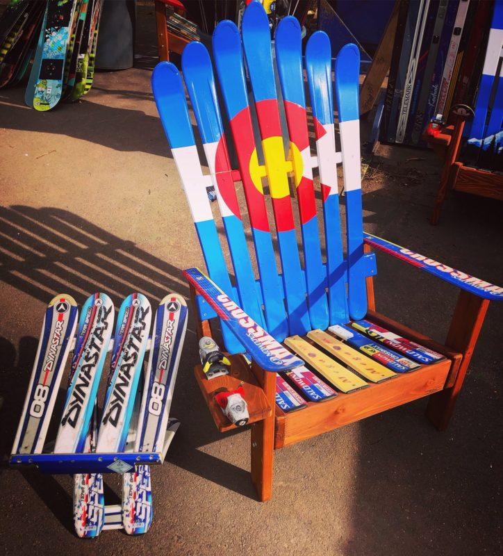 Colorado Flag Adirondack Ski Chair