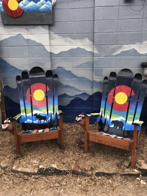 Rocky Mountain Sunset Moose Adirondack Ski Chair Set