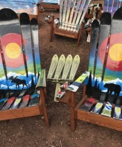 Rocky Mountain Sunset Moose Adirondack Ski Chair