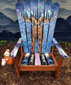Moose Mural Adirondack Ski Chairs