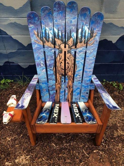 Moose Mural Adirondack Ski Chairs