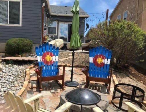 Set of 2 Colorado Flag Adirondack Ski Chairs